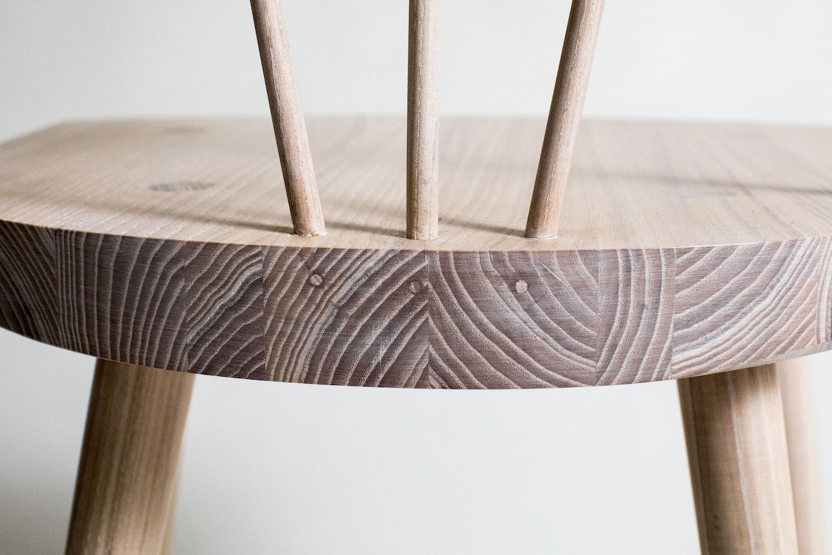 Close up of beautifully crafted chair by Lou Harris