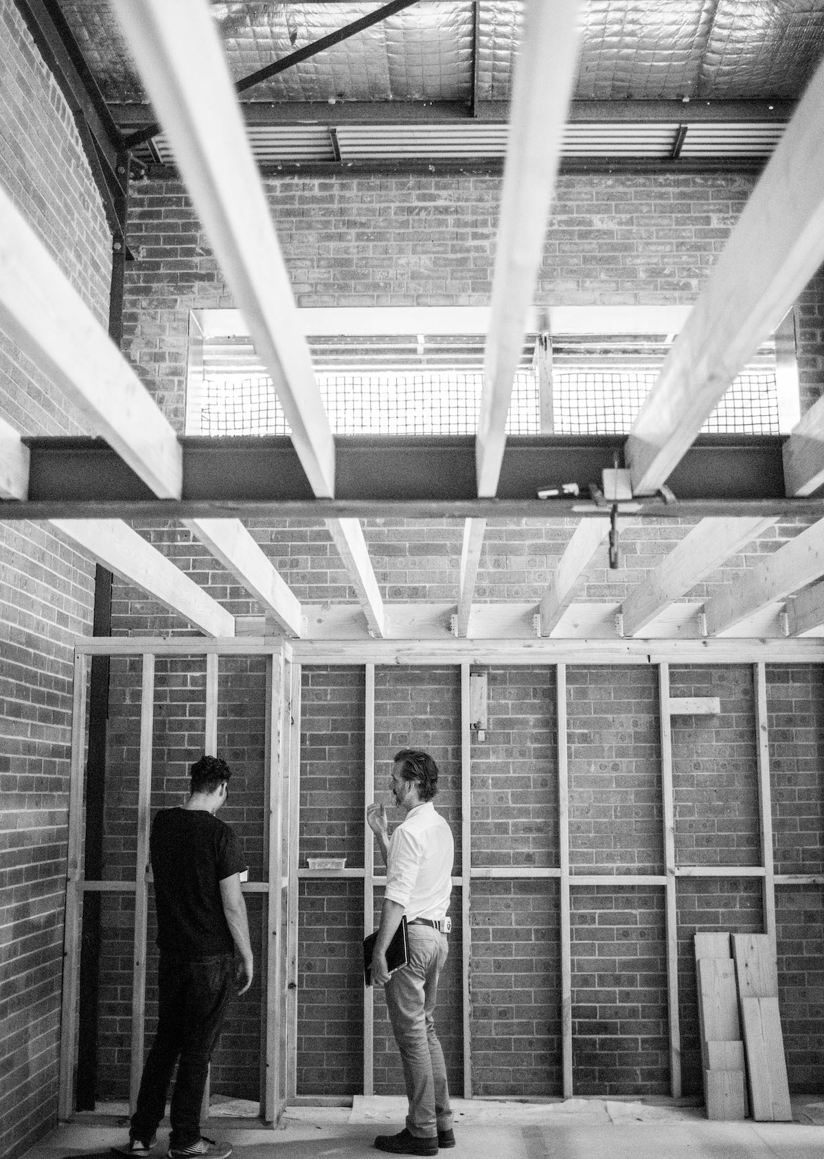 Luke Durack Architect on site with builder