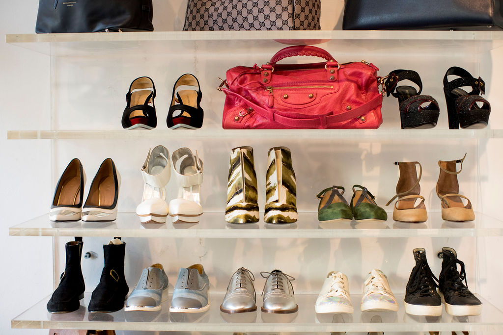 Designer shoes and accessories on display at Pelle Shoes